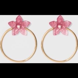 Sugarfix by Baublebar Pink Floral Hoop Earrings